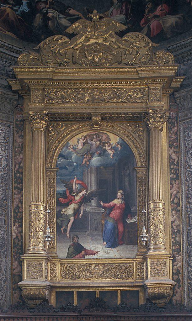 Fig.2, Camillo Filippi, Annunciazione con San Paolo, 1552 circa, Santa Maria in Vado, altare maggiore