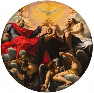 Fig. 6, Carlo Bononi, <em>Trinità che incorona la Vergine</em>, 1616-17, Ferrara, Santa Maria in Vado, transetto.