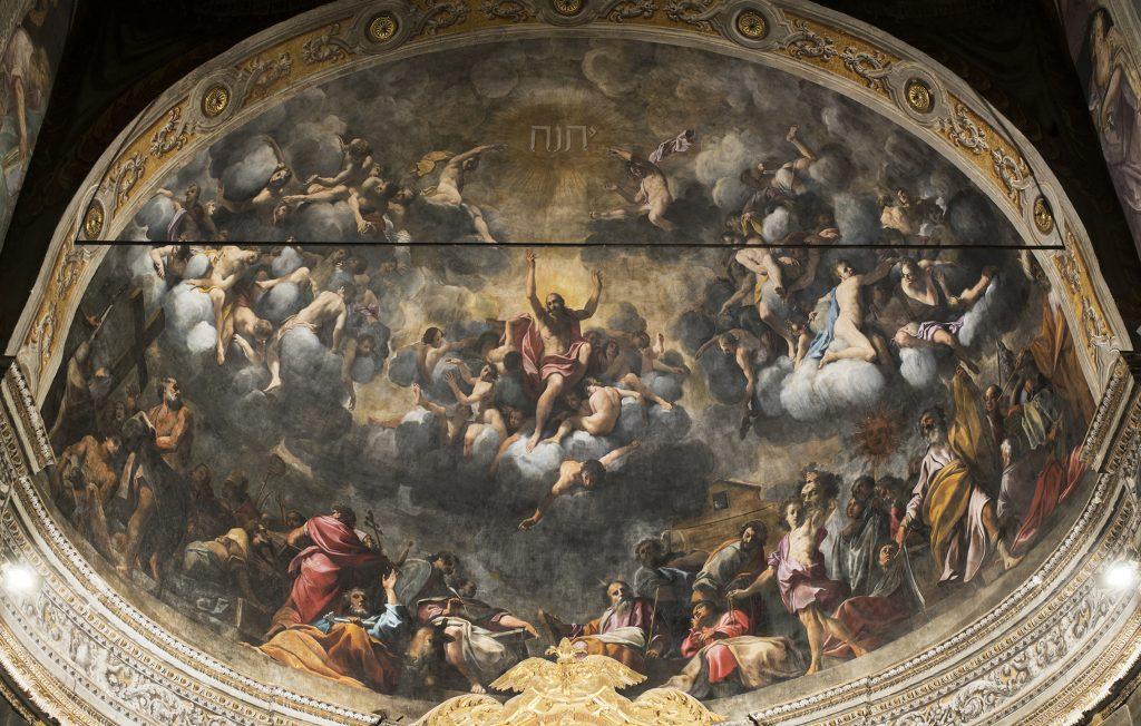 Fig. 7, Carlo Bononi, <em>Esaltazione del Santo Nome</em>, 1616-17, Ferrara, Santa Maria in Vado, abside.