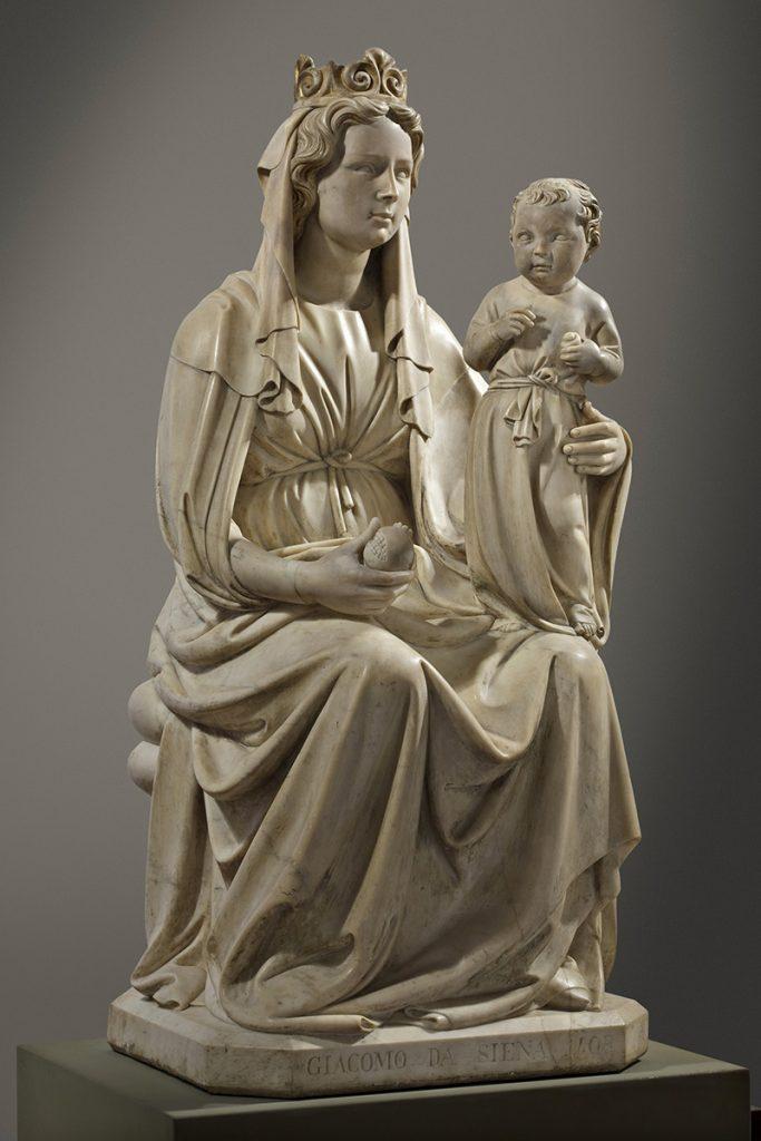 Jacopo della Quercia, ‹i›Madonna della melagrana‹/i›, 1403-06, marmo, h. cm 155, base cm 70×61, Ferrara, Museo della Cattedrale, inv. MC036