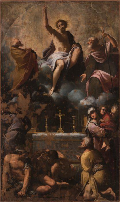 Fig. 10 - Carlo Bononi (1569? - 1632), Cristo in gloria tra i santi Pietro e Paolo venerati dai mendicanti, 1615-20, olio su tela, cm 340 x 200, Ferrara, ASP, in deposito presso i Musei di Arte Antica, inv. DOC63 (prima del restauro del 2018)