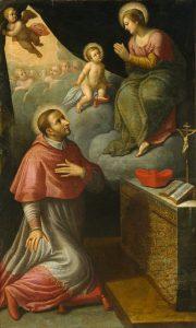 Fig. 11 - Jacopo Bambini (notizie 1588-1626), San Carlo Borromeo in adorazione della Beata Vergine di Reggio, c. 1620, olio su tela, cm 224 x 132, Ferrara, ASP, in deposito presso i Musei di Arte Antica, inv. DOC22