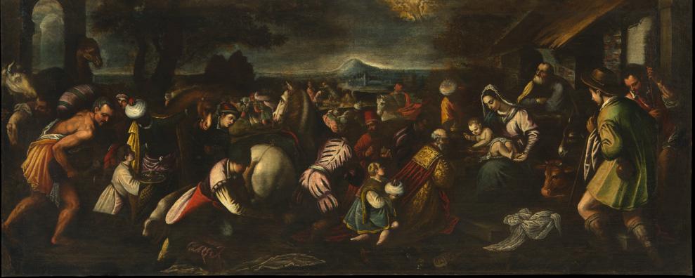Fig. 12 - Angelo Lion? (da Jacopo Bassano), Natività di Cristo con magi e pastori, c. 1590-1620, olio su tela, cm 97 x 242, Ferrara, ASP, in deposito presso i Musei di Arte Antica, inv. DOC16
