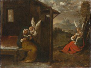 Fig. 13 - Giuseppe Caletti (c. 1600-1641), Annuncio degli angeli a Zaccaria ed Elisabetta, c. 1630, olio su tela, cm 51 x 68, Ferrara, ASP, in deposito presso i Musei di Arte Antica, inv. DOC69
