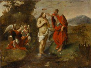 Fig. 14 - Giuseppe Caletti (c. 1600-1641), Battesimo di Cristo, c. 1630, olio su tela, cm 51 x 68, Ferrara, ASP, in deposito presso i Musei di Arte Antica, inv. DOC74