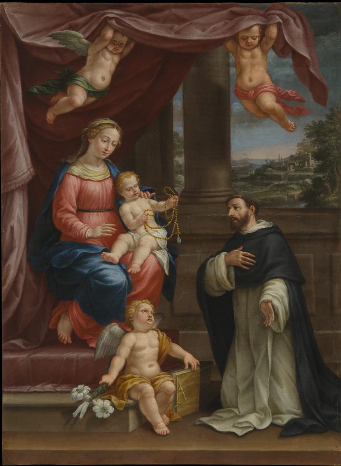 Fig. 15 - Francesco Ferrari (1634-1708), San Domenico e la Beata Vergine del Rosario, c. 1700, olio su tela, cm 203,5 x 148,5, Ferrara, ASP, in deposito presso i Musei di Arte Antica, inv. DOC20