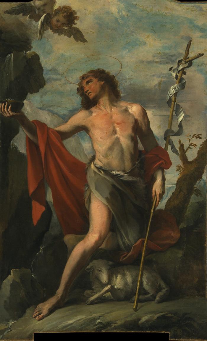 Fig. 17 - Giacomo Parolini (1663-1733), San Giovanni Battista alla fonte, 1710, olio su tela, cm 297,5 x 185,5, Ferrara, ASP, in deposito presso i Musei di Arte Antica, inv. DOC87 (prima del restauro del 2018)