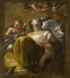 Fig. 16 - Francesco Parolini (1703-1787)?, L'allegoria della castità, XVIII secolo?, olio su tela, cm 112 x 101, Ferrara, ASP, in deposito presso i Musei di Arte Antica, inv. DOC50