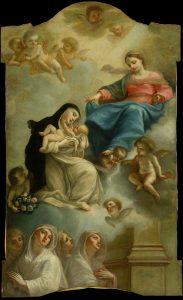 Fig. 18 - Francesco Pellegrini (1707-1799), Santa Rosa da Lima riceve il Bambino dalla Beata Vergine, 1758-60, olio su tela, cm 227,5 x 139,2, Ferrara, ASP, in deposito presso i Musei di Arte Antica, inv. DOC23