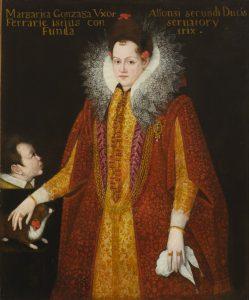 Fig. 2 - Copia da Franz Pourbus il giovane (1569 - 1622), Ritratto di Margherita Gonzaga, XVII secolo, olio su tela, cm 135 x 110, Ferrara, ASP, in deposito presso i Musei di Arte Antica, inv. DOC57