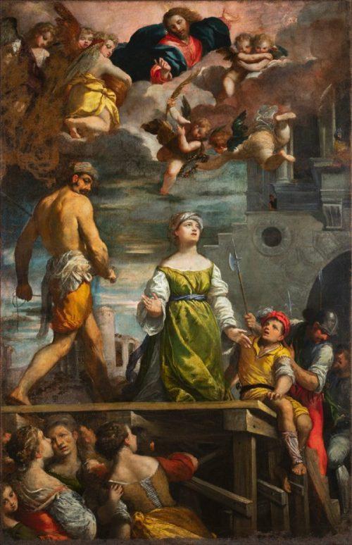 Fig. 3 - Ippolito Scarsella detto Scarsellino (1551-1620), Martirio di Santa Margherita, 1611, olio su tela, cm 246,5 x 156,5, Ferrara, ASP, in deposito presso i Musei di Arte Antica, inv. DOC51