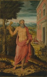 Fig. 4 - Niccolò Roselli (1526 - 1580), San Lazzaro, 1569-70, olio su tavola, cm 241 x 149,8, Ferrara, ASP, in deposito presso i Musei di Arte Antica, inv. DOC89