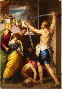 Fig. 5 - Giuseppe Mazzuoli detto Bastarolo (1535 - 1589), Decollazione di san Giovanni Battista, c. 1572, olio su tavola, cm 232 x 159, Ferrara, ASP, in deposito presso i Musei di Arte Antica, inv. DOC91