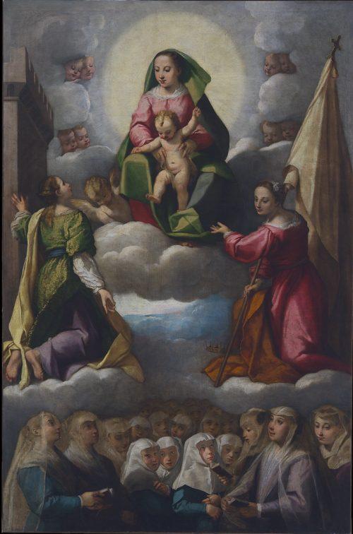 Fig. 6 - Giuseppe Mazzuoli detto Bastarolo (1535 - 1589), Madonna in gloria con le sante santa Barbara e Orsola venerate dalle zitelle, c. 1586, olio su tela, cm 304 x 200, Ferrara, ASP, in deposito presso i Musei di Arte Antica, inv. DOC90