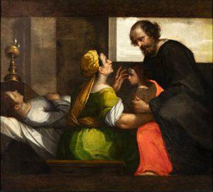 Fig. 7 - Ippolito Scarsella detto Scarsellino (1551-1620), San Girolamo Emiliani riceve in consegna un orfano, c. 1595-1600, olio su tela, cm 102 x 114, Ferrara, ASP, in deposito presso i Musei di Arte Antica, inv. DOC52