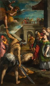Fig. 8 - Ippolito Scarsella detto Scarsellino (1551-1620), Decollazione di san Giovanni Battista, c. 1603-05, olio su tela, cm 243,5 x 142, Ferrara, ASP, in deposito presso i Musei di Arte Antica, inv. DOC24