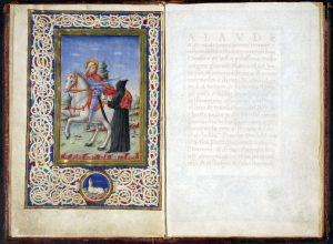 Fig. 2 - Ordinationi per la Scola de' Poveri di San Martino di Ferrara, 1491-92, Ferrara, Biblioteca Comunale Ariostea, ms. Cl. I 346 (miniatura di Tommaso di Cesare da Basso da Modena)