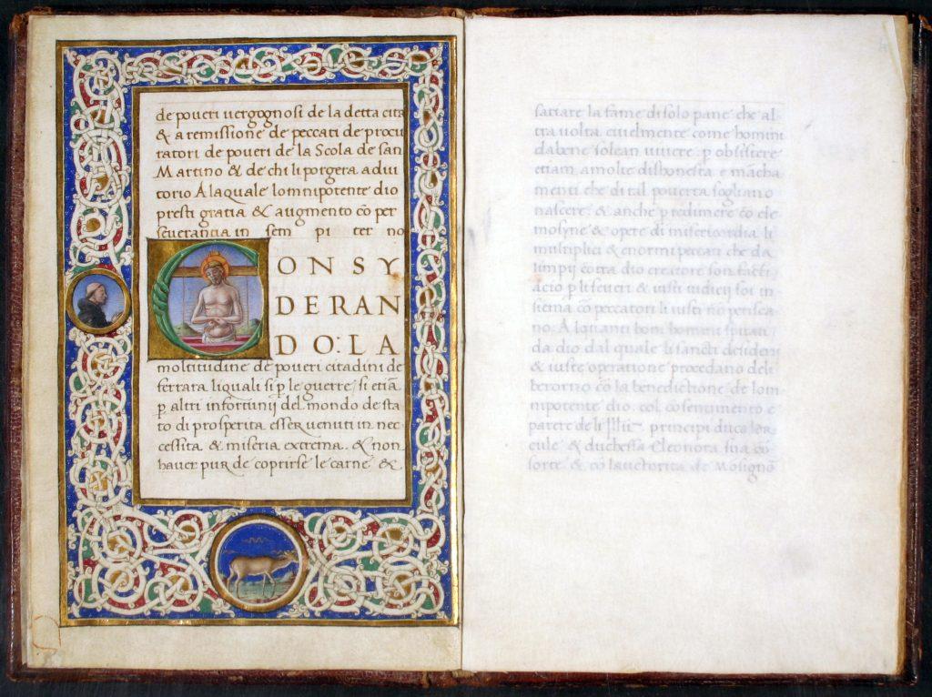 Fig. 3 - Ordinationi per la Scola de' Poveri di San Martino di Ferrara, 1491-92, Ferrara, Biblioteca Comunale Ariostea, ms. Cl. I 346 (miniatura di Tommaso di Cesare da Basso da Modena)