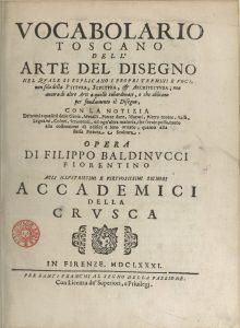 Fig. 1 - Frontespizio del Vocabolario toscano dell'arte del disegno (1691) di Filippo Baldinucci
