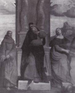 Fig. 11 – Ippolito Scarsella detto Scarsellino (copia da Garofalo), Sant'Antonio Abate fra i santi Antonio da Padova e Cecilia, 1523, Firenze, collezione privata