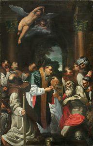 Fig. 17 – Francesco Naselli (copia da Agostino Carracci), Ultima comunione di San Girolamo, 1615-20, Ferrara, Chiesa di San Cristoforo alla Certosa