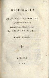 Fig. 3 - Frontespizio del Dizionario delle Belle Arti del Disegno (1797) di Francesco Milizia