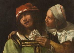 Fig. 4 - Giuseppe Caletti, Vecchia che mostra le carte a un giovane (La Buona Ventura) , ante 1641, Napoli, Museo di Capodimonte