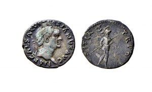 Fig. 1: Denario di Vespasiano con Marte andante con trofeo e lancia sul rovescio, Ferrara, Musei di Arte Antica, inv. NU4601