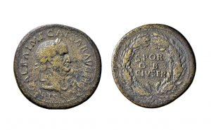 Fig. 2, Sesterzio di Galba con corona di quercia e S∙P∙Q∙R/O B/ CIV∙SER sul rovescio, Ferrara, Musei di Arte Antica, inv. NU4541
