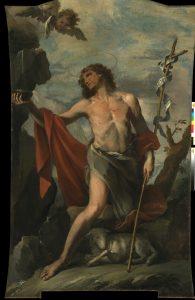Fig. 1 - Giacomo Parolini (1663-1733), San Giovanni Battista alla fonte, 1710, olio su tela, cm 297,5 x 185,5, Ferrara, ASP, in deposito presso i Musei di Arte Antica, inv. DOC87 (prima del restauro del 2018)