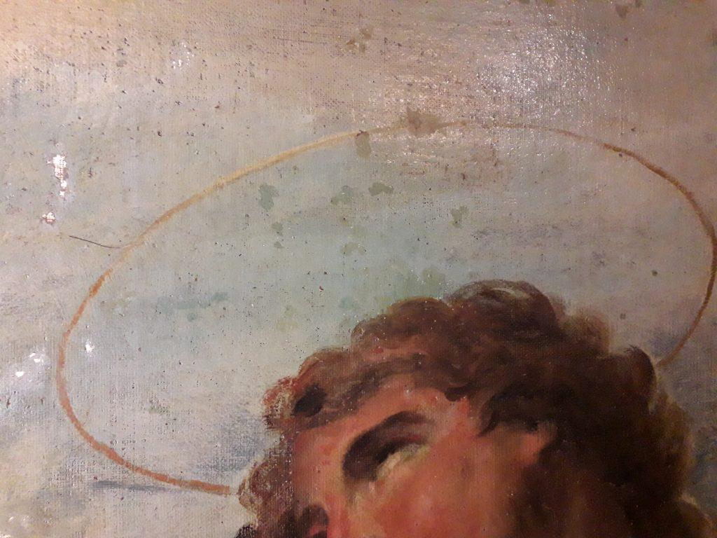 Fig. 2, L'opera di Parolini durante le fasi di pulitura