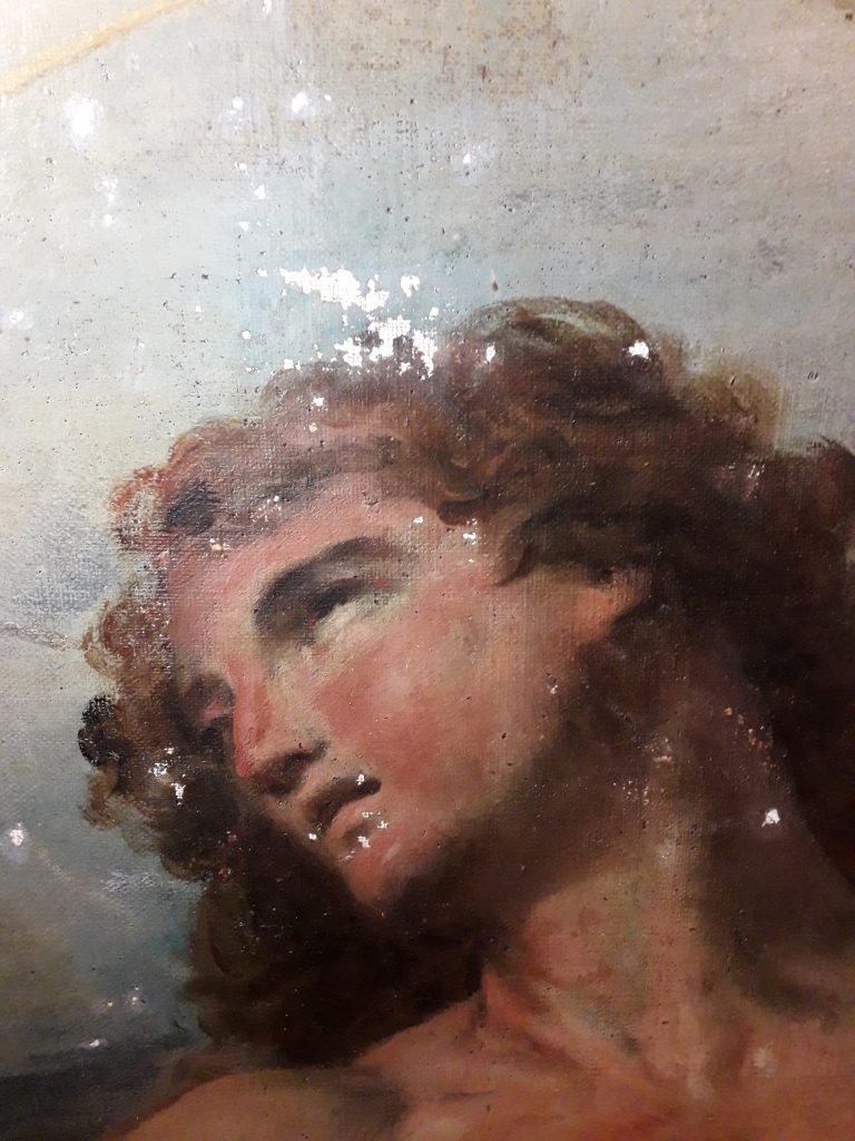 Fig. 3, L'opera di Parolini durante le fasi di stuccatura