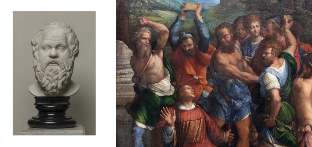Fig. 2 – a sinistra: Arte romana, Testa di Socrate, II secolo d.C, San Pietroburgo, Museo dell'Ermitage; a destra: Garofalo, Lapidazione di Santo Stefano, 1540, Berlino, Staatliche Museen Preussischer Kulturbesitz, Gemäldegalerie (part.)