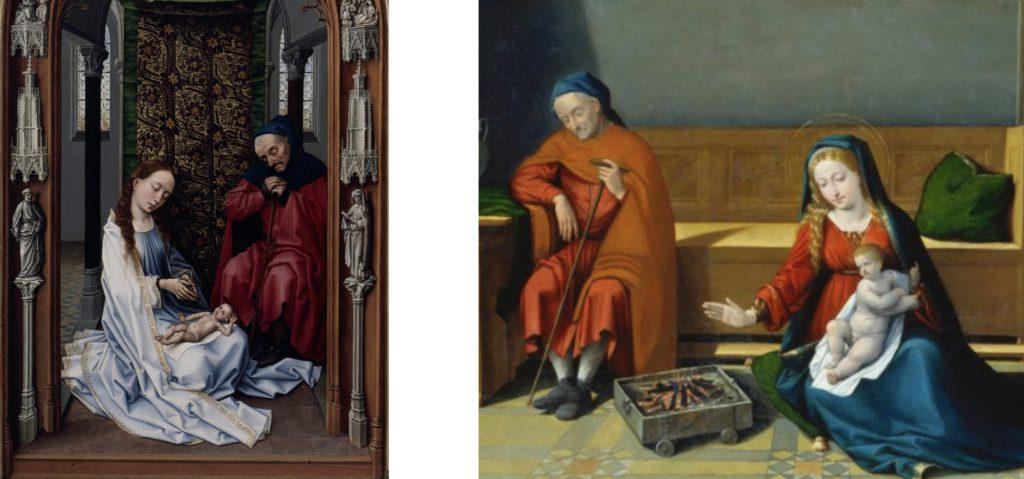 Fig. 3 – a sinistra: Rogier van der Weyden, Sacra Famiglia (dalla pala Miraflores), 1442-45, Berlino, Staatliche Museen Preussischer Kulturbesitz, Gemäldegalerie; a destra: Garofalo, Sacra Famiglia, 1510-15, Francoforte-sul-Meno, Städelsches Kunstinstitut (part.)