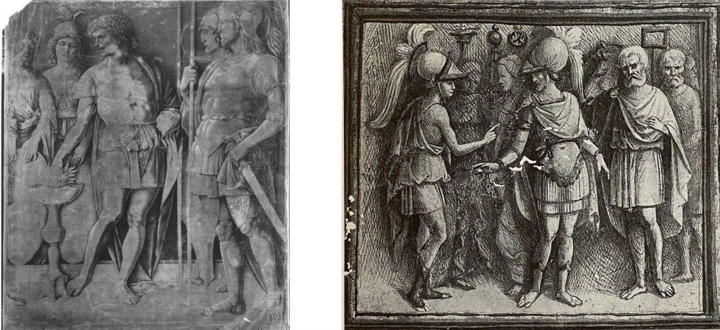 Fig. 4 – a sinistra: Andrea Mantegna (scuola), Muzio Scevola, 1490 circa, Monaco di Baviera, Alte Pinakothek; a destra: Garofalo, Scena romana, 1503-06, Ferrara, Palazzo Costabili, Sala del Tesoro
