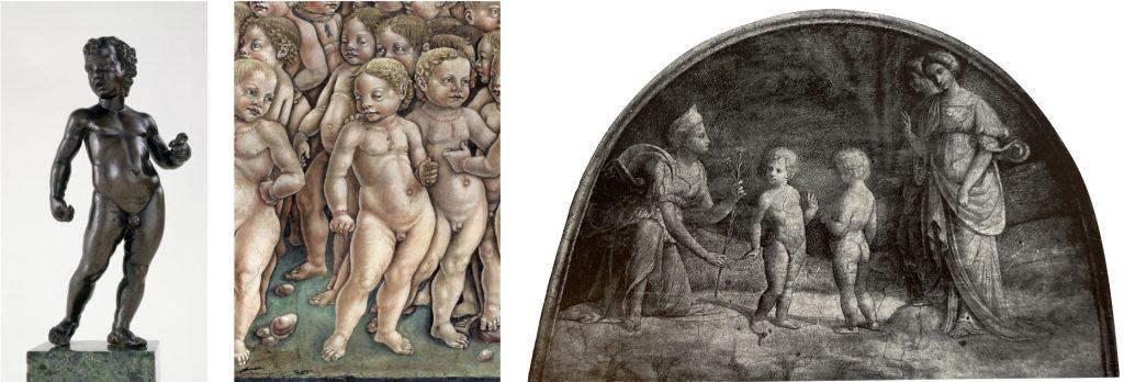 Fig. 5 – a sinistra: Anonimo (da Andrea Mantegna), Putto in piedi, 1480 circa, Houston, Museum of Fine Arts; al centro: Francesco del Cossa, Maggio, 1469 circa, Ferrara, Palazzo Schifanoia, Salone dei Mesi (part.); a destra: Garofalo, Venere e i due Amori, 1503-06, Ferrara, Palazzo Costabili, Sala del Tesoro