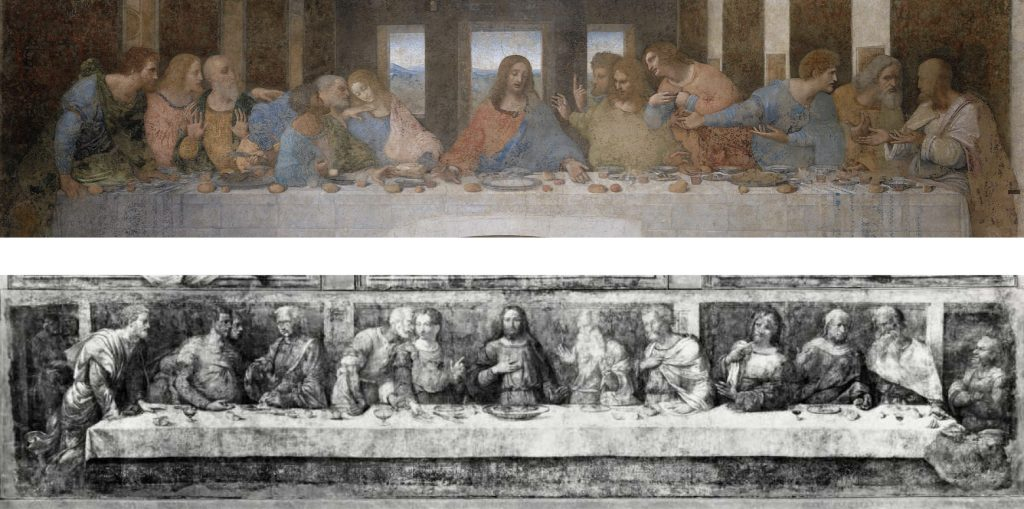 Fig. 7 – sopra: Leonardo, Ultima cena, 1494-98, Milano, Santa maria delle Grazie, refettorio; sotto: Garofalo, Ultima cena, 1544, Ferrara, Pinacoteca Nazionale