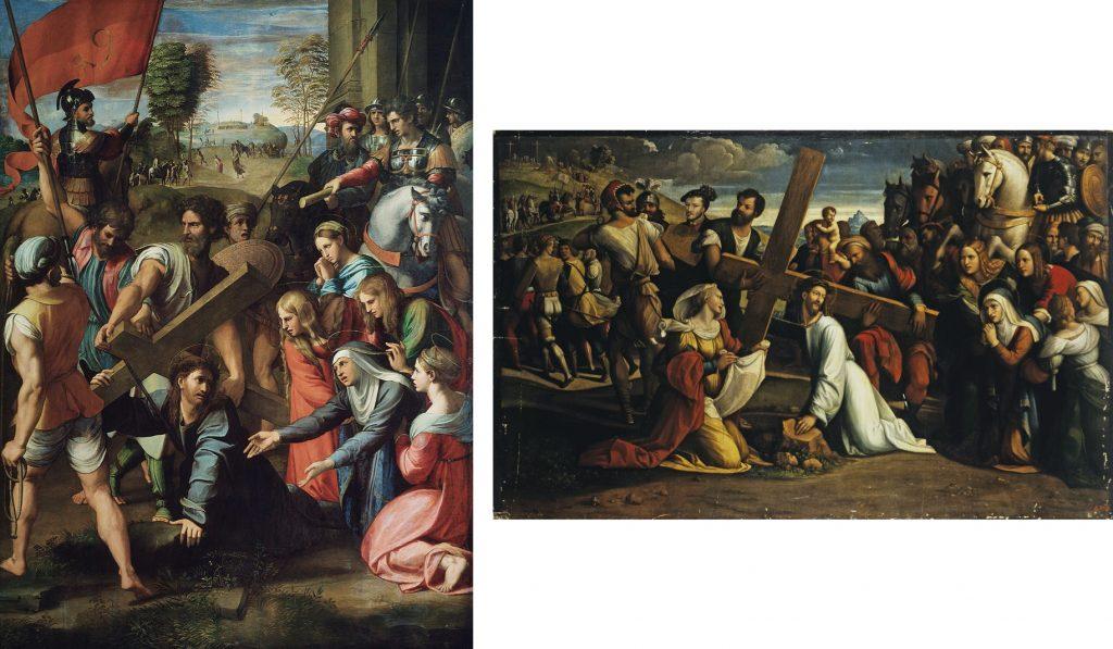 Fig. 10 – a sinistra: Raffaello, Spasmo di Sicilia, 1517 circa, Madrid, Museo del Prado; a destra: Garofalo, Andata al Calvario (Santa Veronica), 1528-31, San Pietroburgo, Museo dell'Ermitage