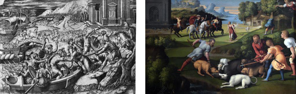 Fig. 11 – a sinistra: M. Raimondi, Ratto di Elena, 1515 circa, incisione; a destra: Garofalo, Trasformazione di Pico in picchio, 1527 circa, Roma, Galleria Nazionale d'Arte Antica di Palazzo Barberini (part.)