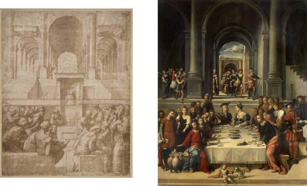 Fig. 12, a sinistra Parmigianino (attribuito), Cristo tra i dottori, 1520-25 circa, Londra, British Museum, inv. 1857,0520.63; a destra Garofalo, Nozze di Cana, 1531, San Pietroburgo, Museo dell'Ermitage