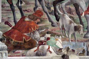 Francesco del Cossa, Marzo (particolare del registro inferiore), 1469 circa, dipinto murale, Ferrara, Palazzo Schifanoia, Salone dei Mesi