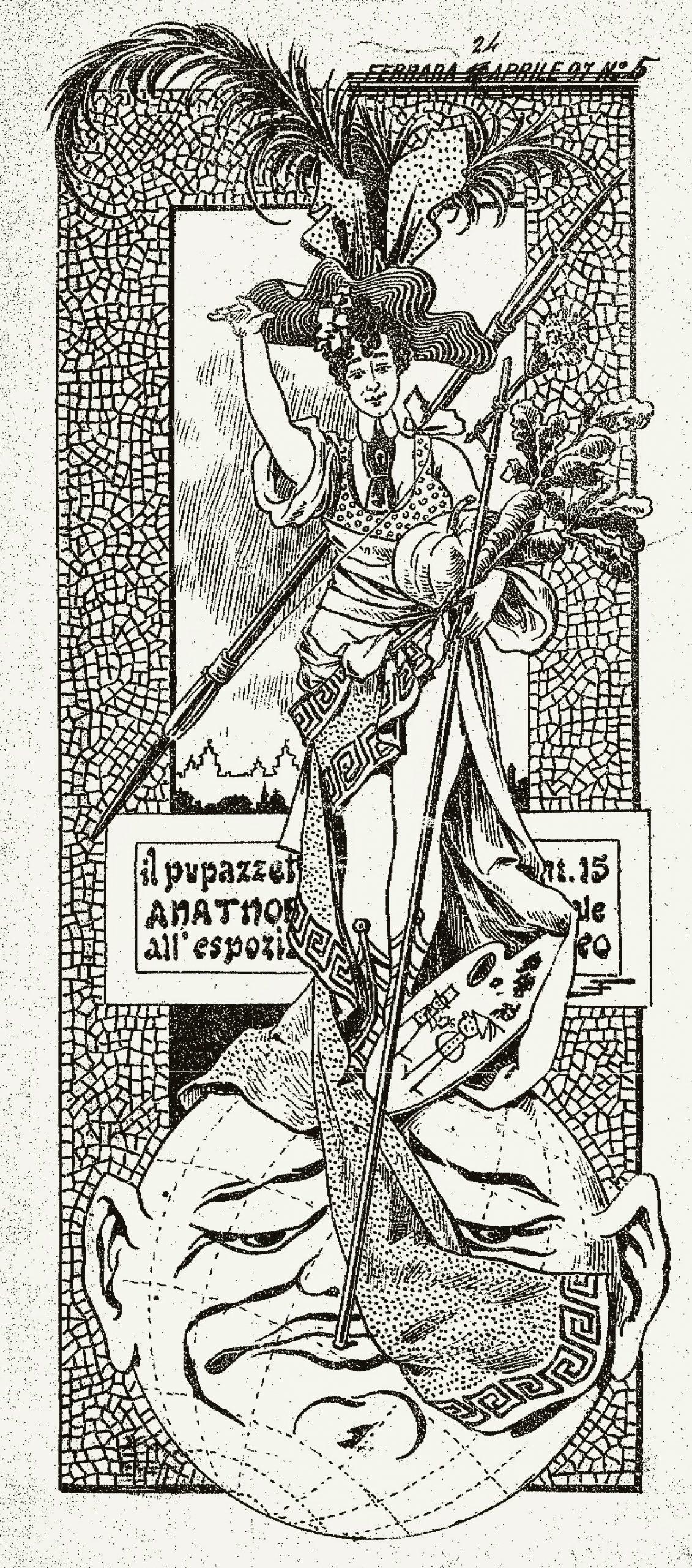 "Fig. 12 - E. Fontana (Anatnof), ""Il Pupazzetto Anatnof»"", 5, 18 aprile 1897, p. 1"