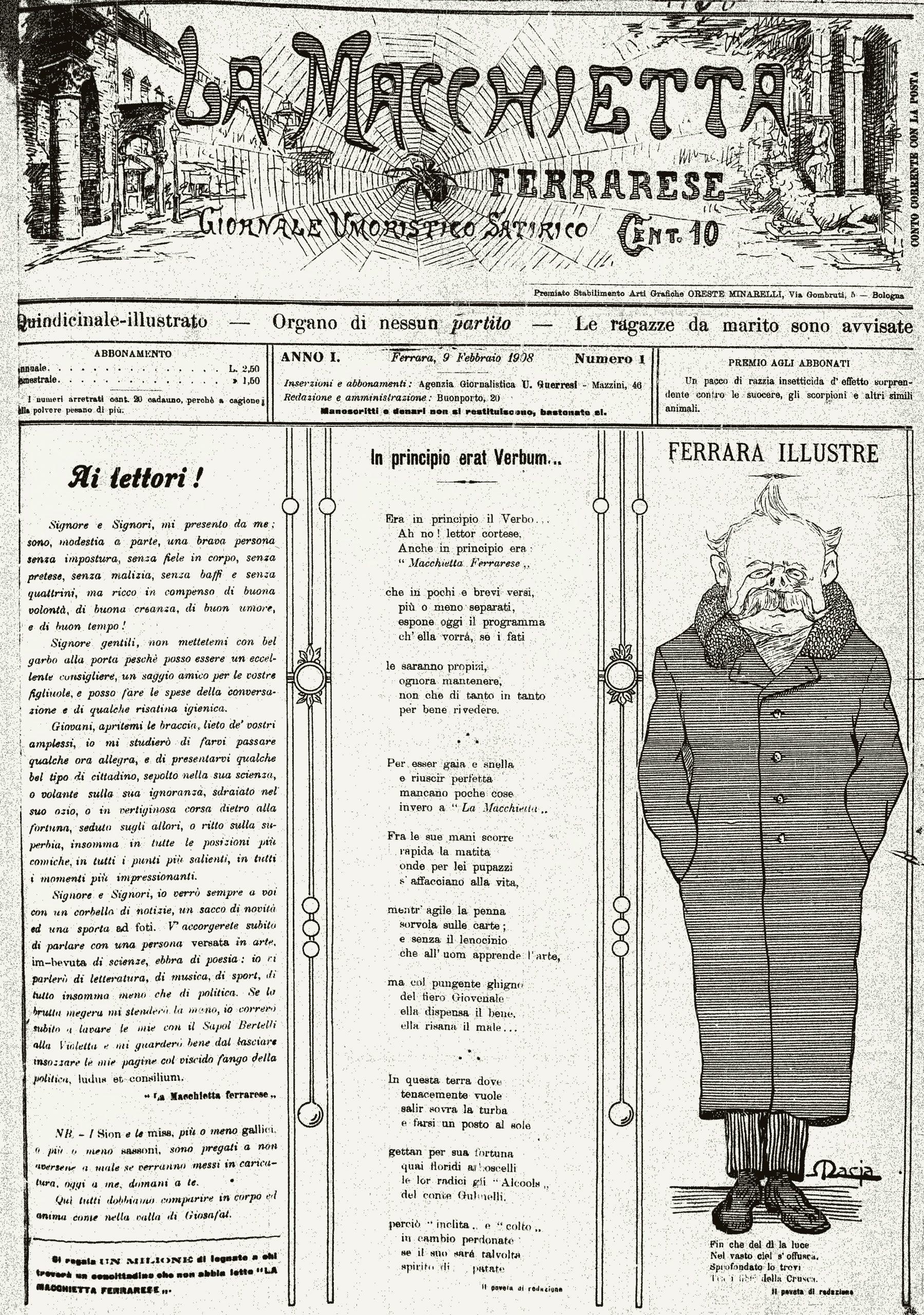 """Fig. 15 – """"La Macchietta Ferrarese"""", anno I, 1, 9 febbraio 1908, p. 1"""