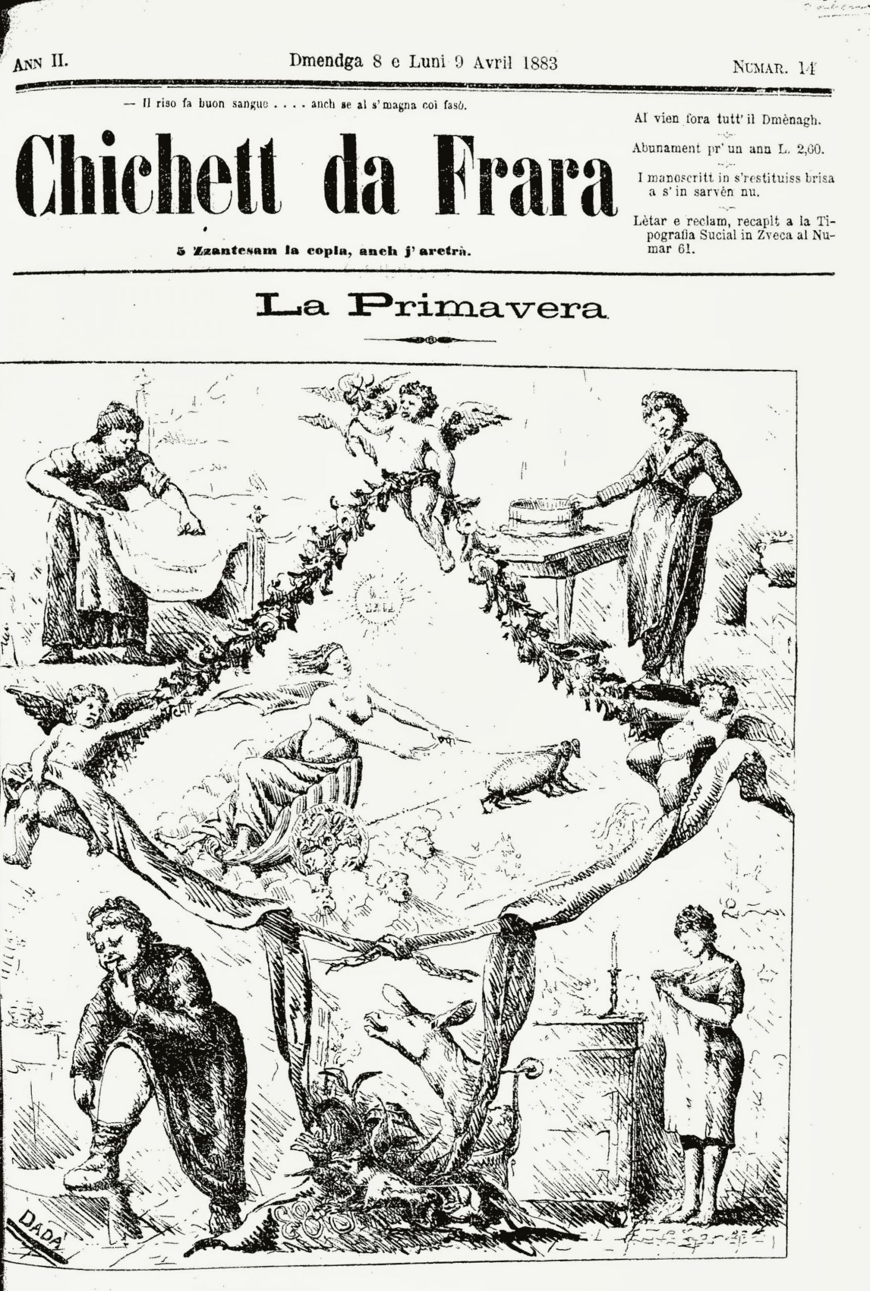 """Fig. 3 – """"Il Chichett da Frara"""", anno II, 14, 8 – 9 aprile 1883, p. 1"""
