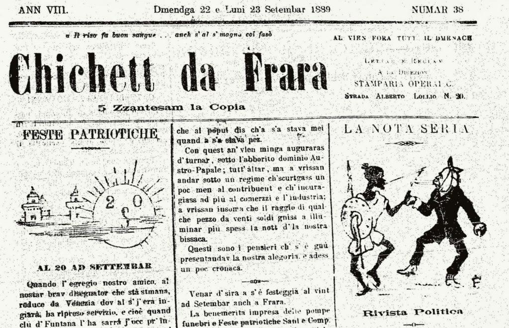 """Fig. 4 - """"Il Chichett da Frara"""", anno VIII, 38, 22 -23 settembre 1889, p. 1 (part.)"""