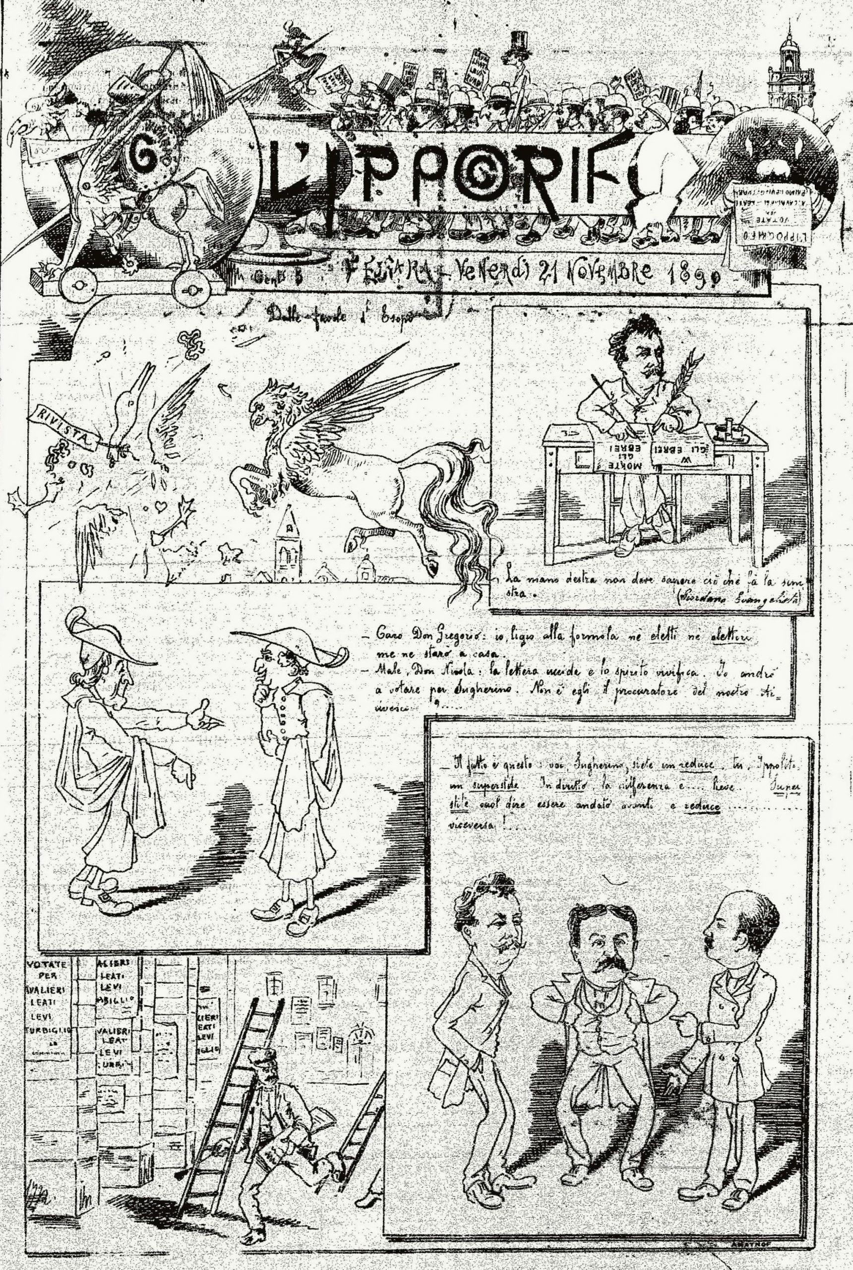 """Figg. 8 - """"L'Ippogrifo"""", 21 novembre 1890, p. 1"""
