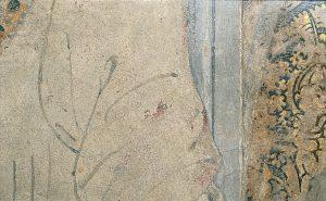 Francesco del Cossa, Marzo registro inferiore (part. del giovane di spalle in piedi in primo piano ), 1469 c., dipinto murale, Ferrara, Palazzo Schifanoia, Salone dei Mesi