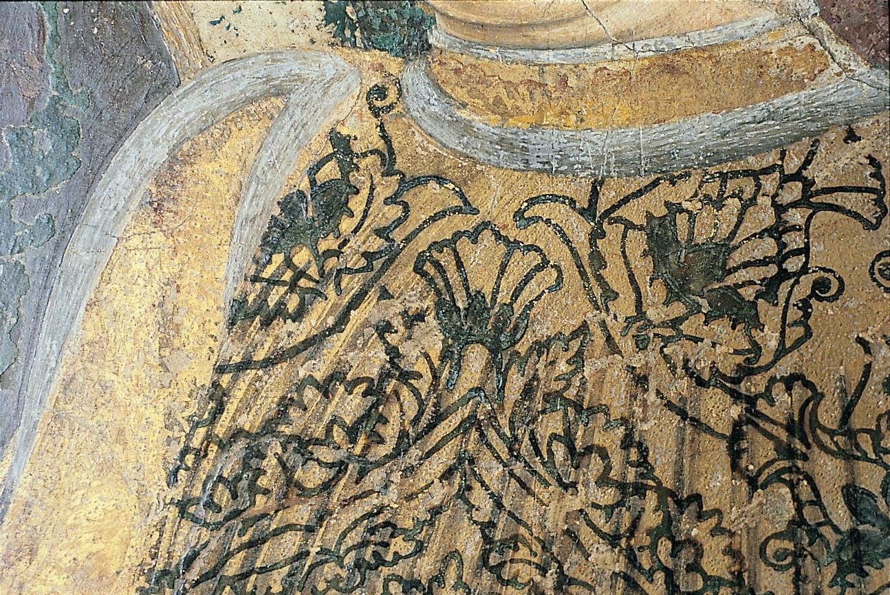 Francesco del Cossa, Aprile registro inferiore (part. della veste di Borso), 1469 circa, dipinto murale, Ferrara, Palazzo Schifanoia, Salone dei Mesi