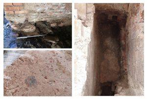 Figg. 7a, 7b, 7c – Pavimenti in cocciopesto trecentesco di edifici preesistenti all'ampliamento del 1391