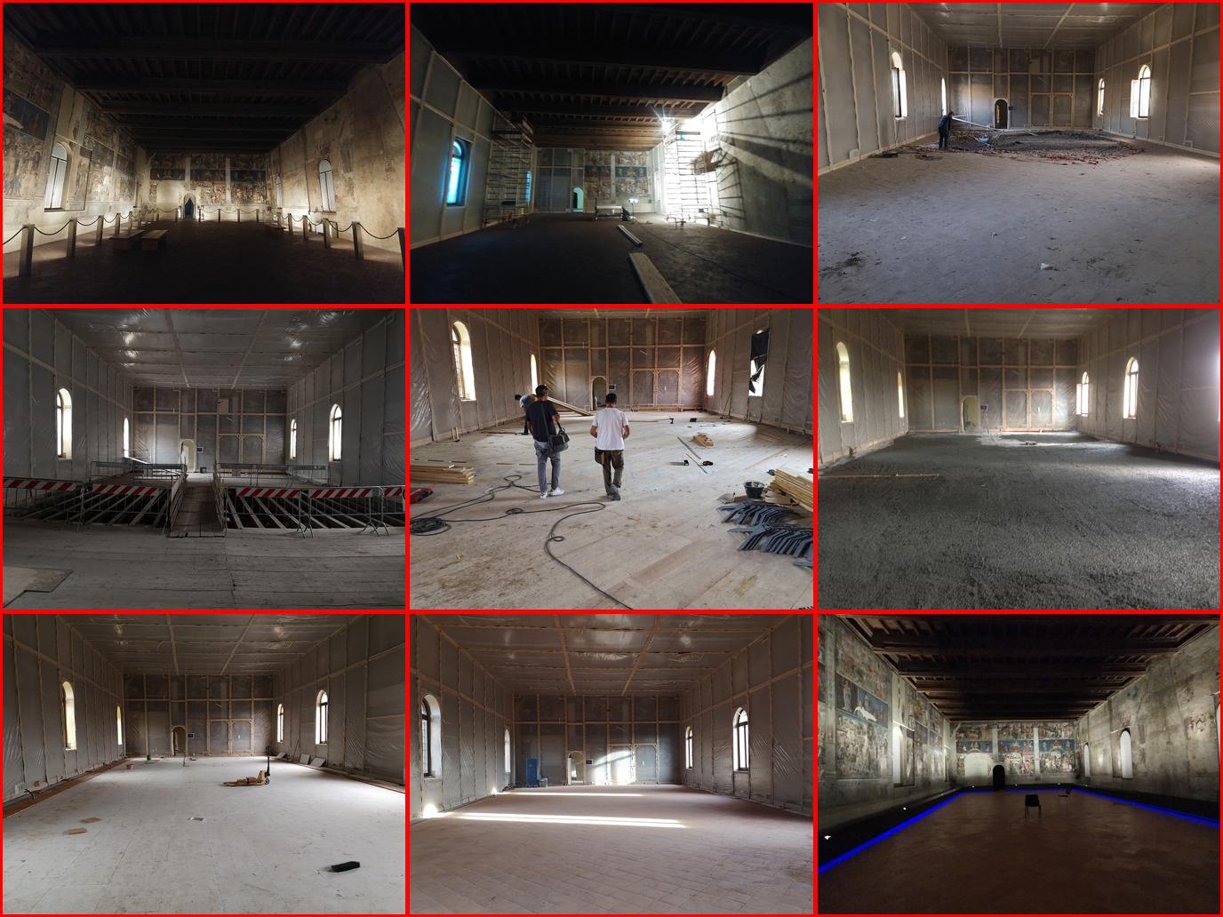 Fig. 14 - Il Salone dei Mesi prima, durante e dopo i lavori di restauro